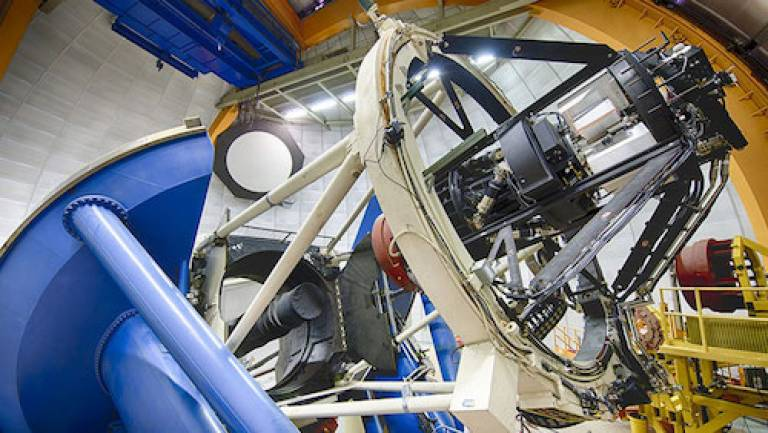 The 4-metre Blanco telescope in Chile, where the DES observations have been taken. The camera's optical corrector was assembled at UCL, with STFC funding (credit: the DES collaboration)