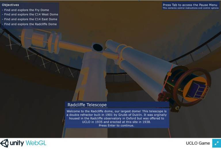 An image from the game, showing the virtual Radcliffe telescope