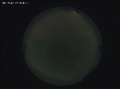 6:05:15 UT, faint aurora are beginning to appear to the north.