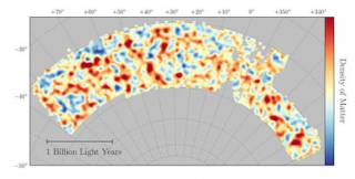 The map of dark matter made from gravitational lensing measurements of 26 million galaxies in the Dark Energy Survey (credit: Chihway Chang of the Kavli Institute for Cosmological Physics at the University of Chicago, and the DES collaboration)