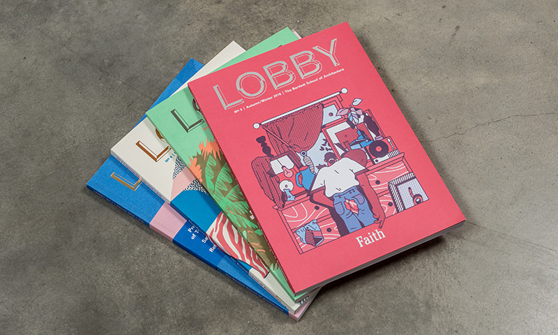 A stack of the last four issues of LOBBY magazine
