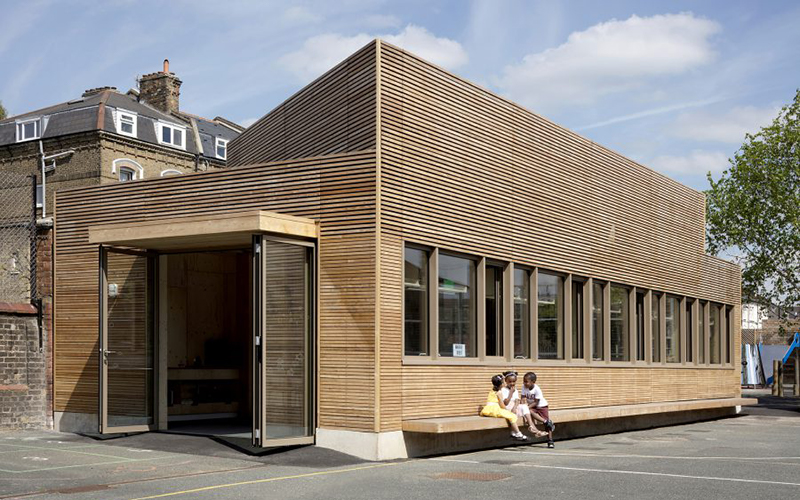 Exterior of Eleanor Palmer Science Lab by AY Architects. Image by Nick Kane