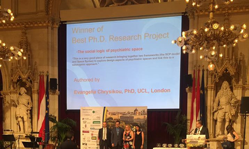 Dr Evangelia Chrystikou receives her award for best PhD Research Project