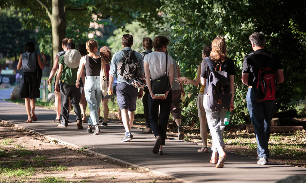 a line of people walking in pairs through a park
