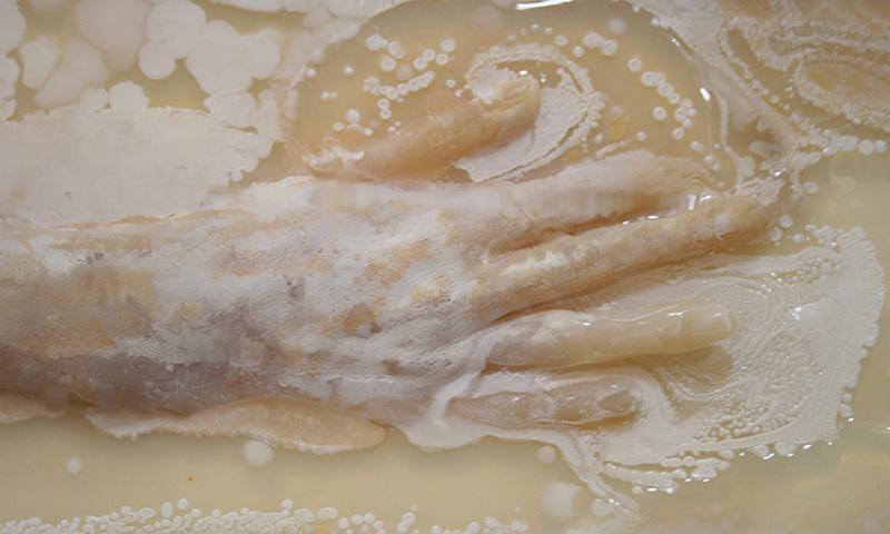 Hand in mixture