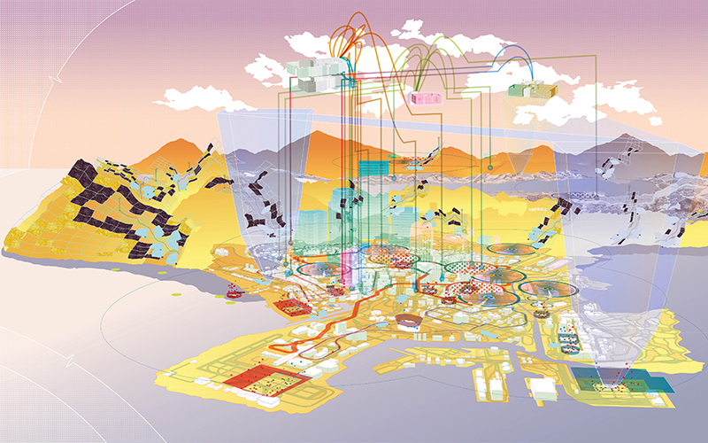 Cartographic drawing that exposes systems underpinning Los Santos by Luke Pearson