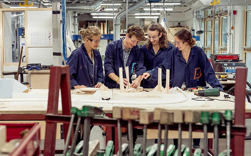 Short course students work in the Bartlett workshop