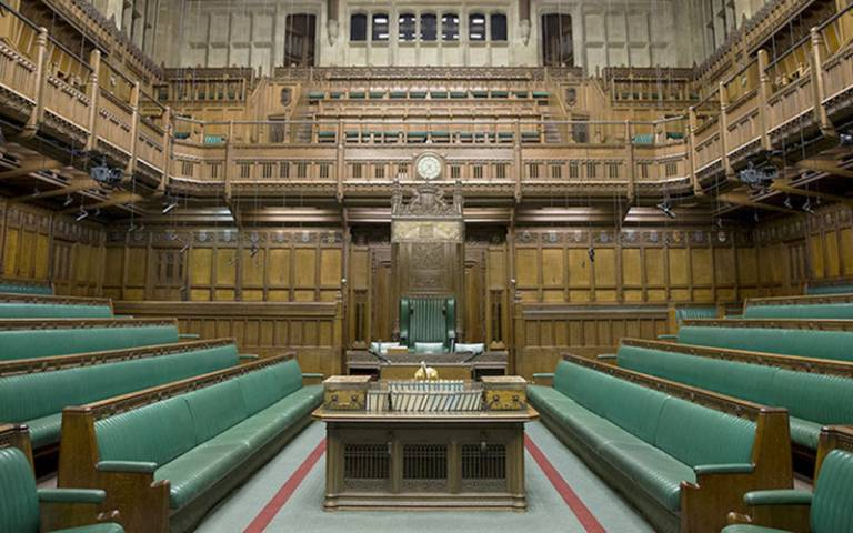 General view of the interior of The Commons Chamber at the Houses of Parliament in central London. Photograph by Justin Tallis.