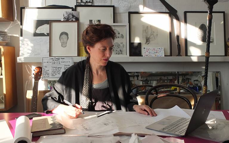 Barbara Campbell-Lange at work in her studio