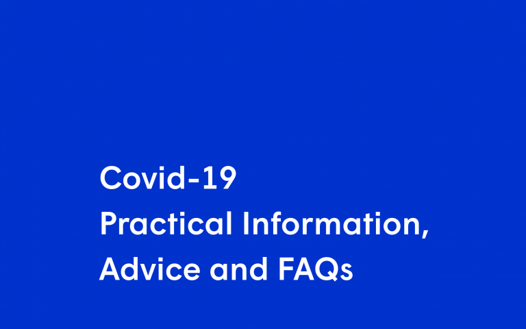 Text on blue background: Covid-19 Practical Information, Advice and FAQs