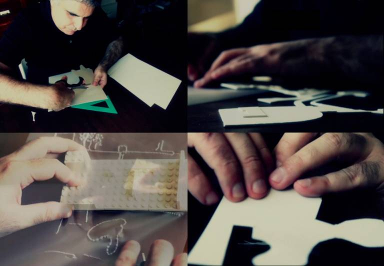 4 images of Carlos cutting shapes out of card and using his hands to feel texture