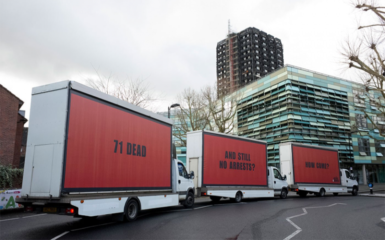 3 billboards outside Grenfall Tower