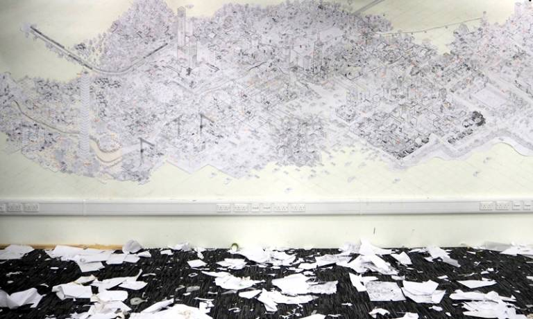 Drawing of imaginary cityscape on the wall at The Bartlett
