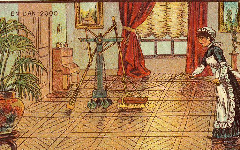Jean Marc Côté, 'Electric Scrubbing', 1899. Wikimedia Commons.