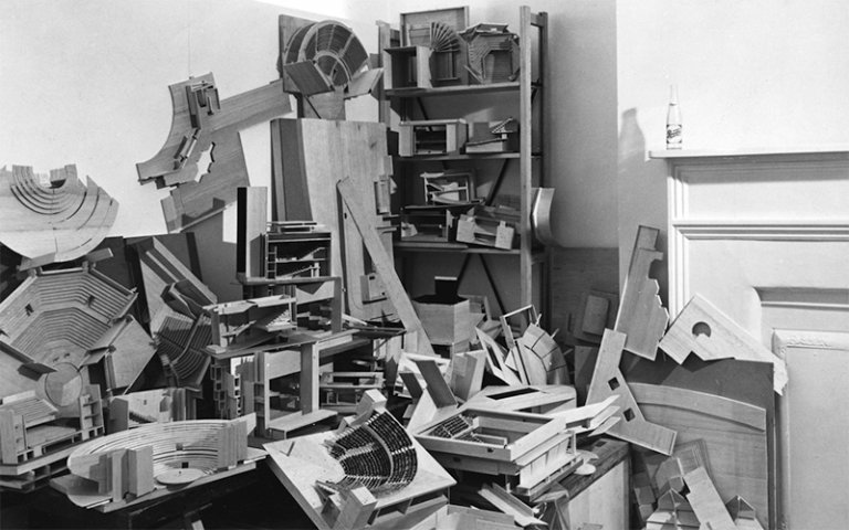 Denys Lasdun's, 'scrapheap' of discarded models of the National Theatre, London, in his studio, 1970. Courtesy of Lasdun Archive/RIBA Collections.