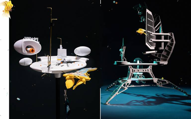 Two imaginary models of space crafts including yellow canaries