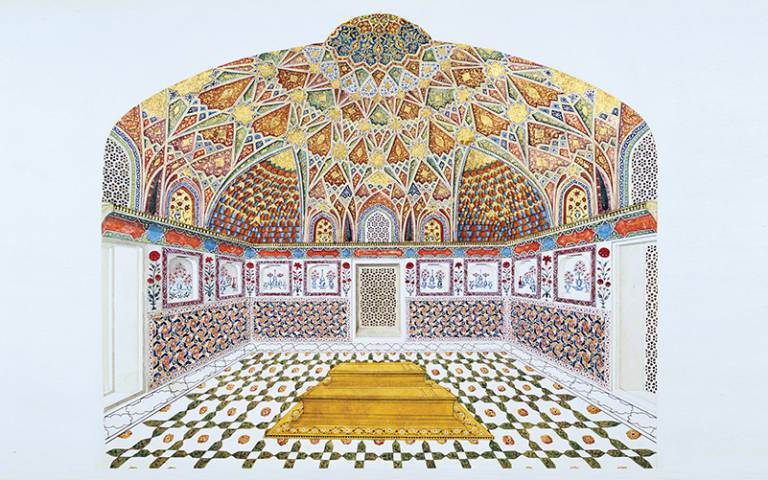 Image: Interior perspective of Itimad ad-Daula's Tomb, Agra, India (1622–28; painting by an unknown Indian artist in the 1830s).