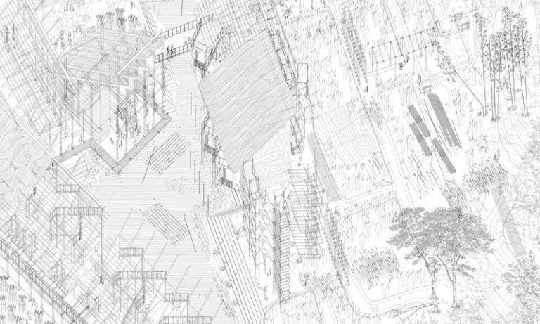 Detail of drawing by Lok-kan Chau: 'Construction Manual for Lantau Commune'