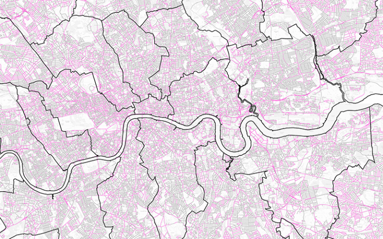 Street space for social distancing map, by _Streets. Contains Ordnance Survey Data. Crown copyright and database right 2020.