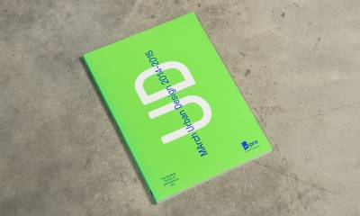 Cover of the MArch UD 2015 book on a concrete floor