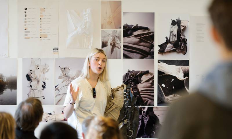 A student presents her work at The Bartlett during the Open Crits 2017