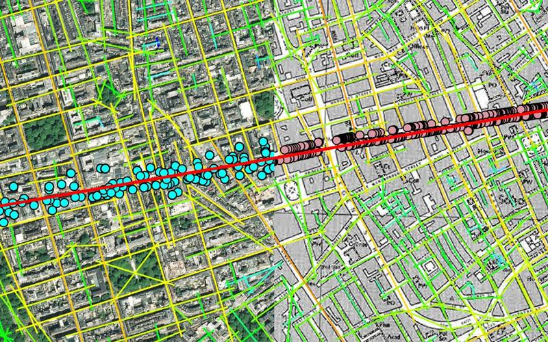Global Axial Analysis of Oxford Street & Distribution of Oxford Street Activities in 1970 and 2020: 27 July 2020, processed and visualised by Farbod Afshar Bakeshloo.