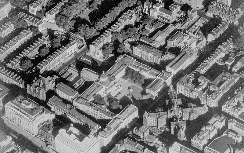 Aerial view of UCL's campus in Bloomsbury, c.1950s (© UCL Digital Media), permission UCL Imagestore.