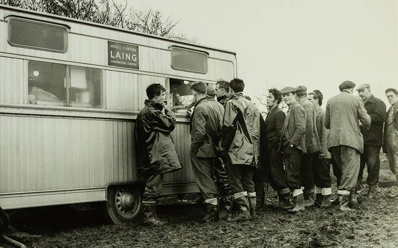 Nuclear Power Station, Berkeley. Mobile Canteen for service of tea. 8th January 1957. ©Historic England 2019 – The John Laing Collection No. 48730