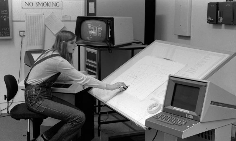 Lindsay Wakeman, computer technician at Wates Houe in c1981, from the Bartlett Archive