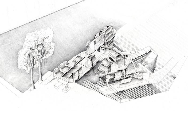 'The Bike Hangout' by Christian Coackley, Architecture BSc Year 1, The Bartlett School of Architecture