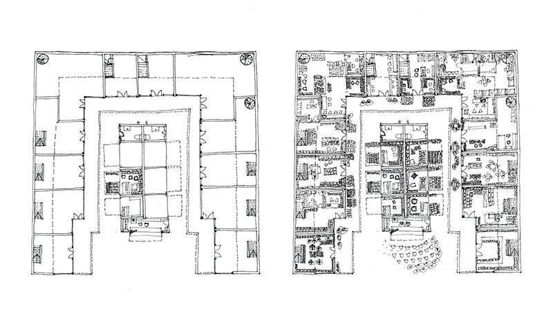Hand-drawn plan of a building