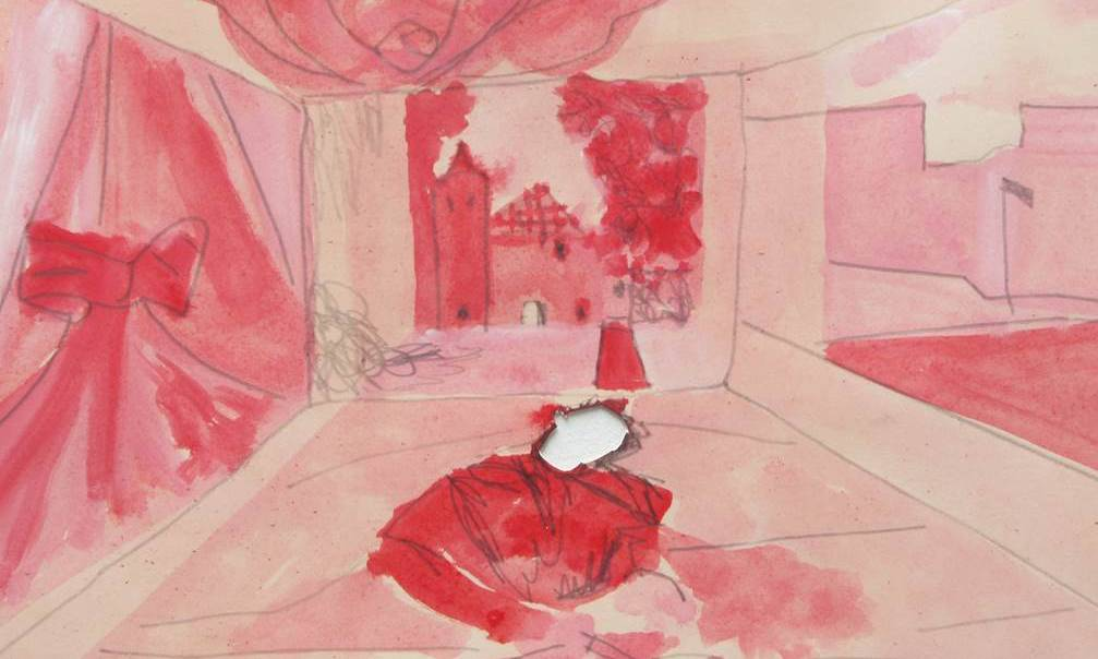 Pink and red drawing of a room with a castle at the end and a figure in front