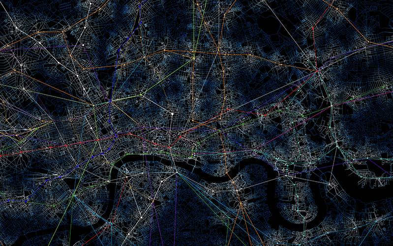Catchment Analysis of London Underground Services. OS MasterMap® Integrated Transport Network Layer [GML2 geospatial data]. Scale 1:1250. Tiles: GB. Updated: 1 April 2018, Ordnance Survey (GB), processed and visualised by Po Nien Chen.