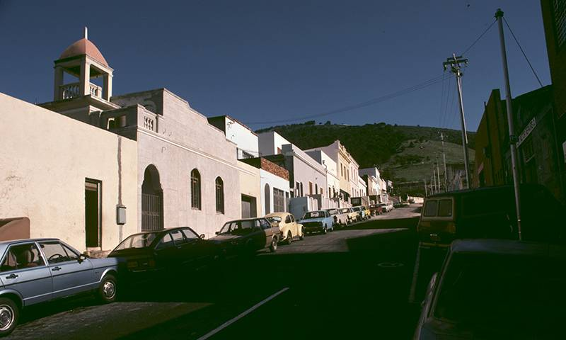 Street with mosque in Cape Town, South Africa