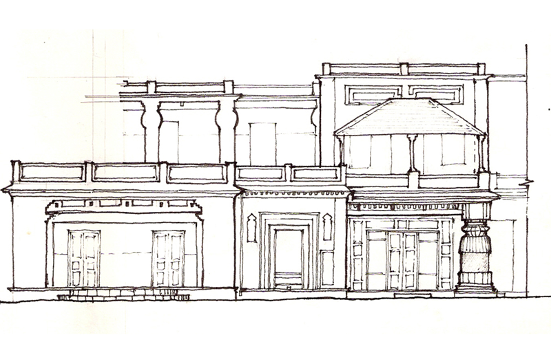 Patha Bhavana (school building) at Santiniketan: part elevation sketch by Saptarshi Sanyal.