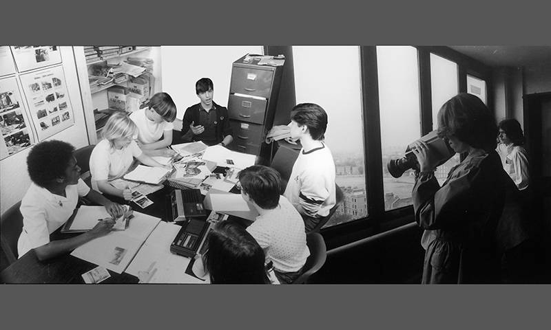 Photo montage of students at work around a table and a student with a video camera