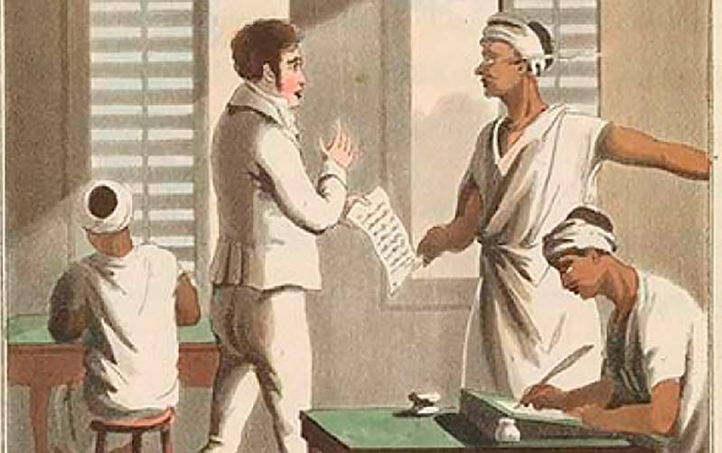 1.	A European Officer and Indian Clerks at a Cutcherry, Nineteenth Century. From a Collection of Drawings by Charles Doyley, (1813). ©British Library Board (V 10573, Plate III)