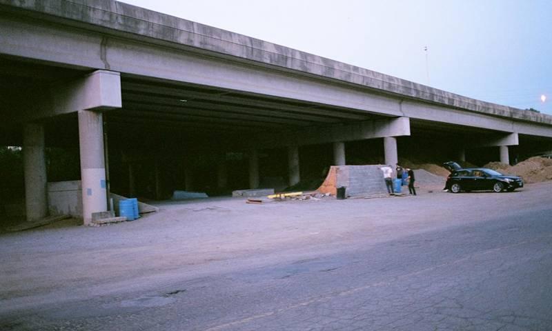 Thom Callan PhD profile: Skateboard park beneath a motorway flyover