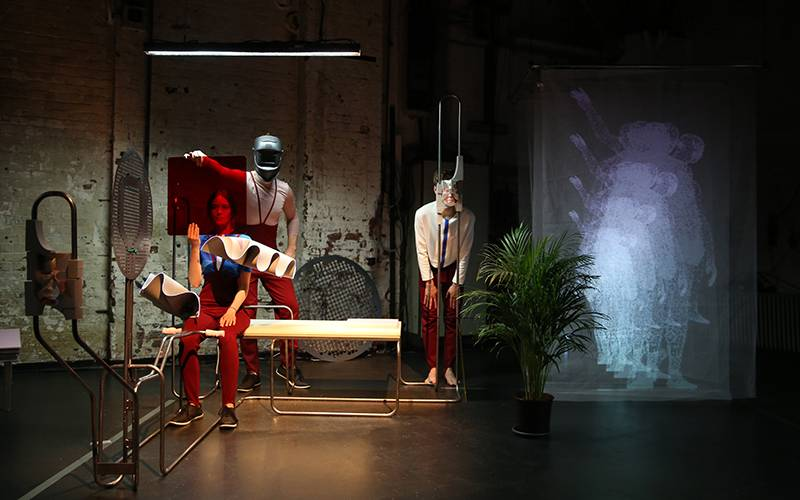 Thomas Pearce, 'Jakob K. Der Neue Mensch'. Set design, video work and artistic collaboration with Mara Kanthak and performance makers Heike Bröckerhoff, Moritz Frischkorn, Jonas Woltemate. Performed at Kampnagel, Hamburg, May 2018. Photographer: Anja Beut