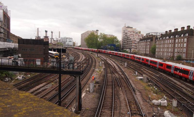 View of train tracks on the approach to Victoria Station in London. Tom Bolton.
