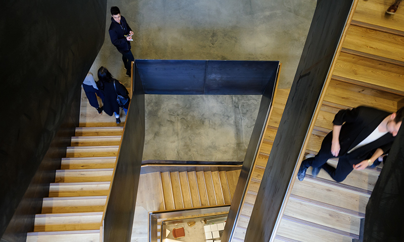 View down between the staircases at The Bartlett School of Architecture