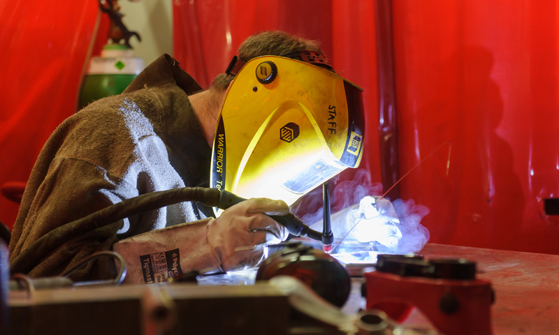 TIG welding in the B-made workshop at The Bartlett