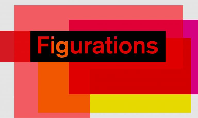 Blocks of colours in pink, red, yellow which overlap. The title figurations is in black over the top.