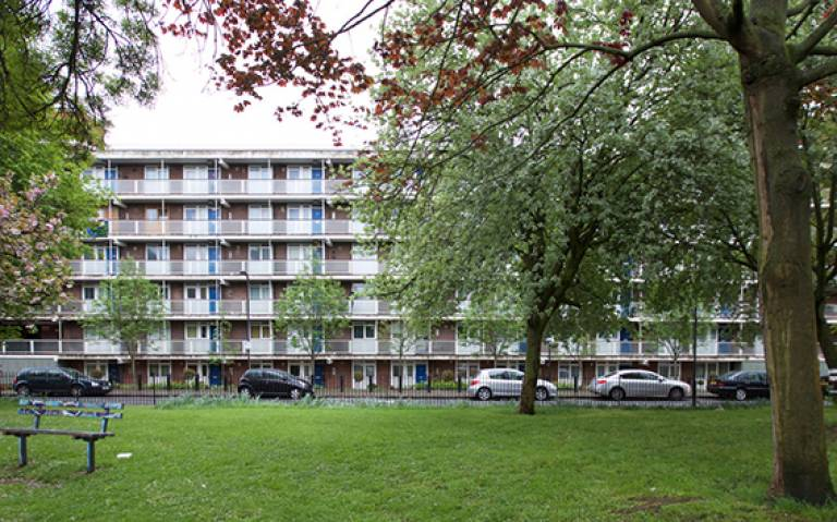A long apartment block in Hoxton, East London