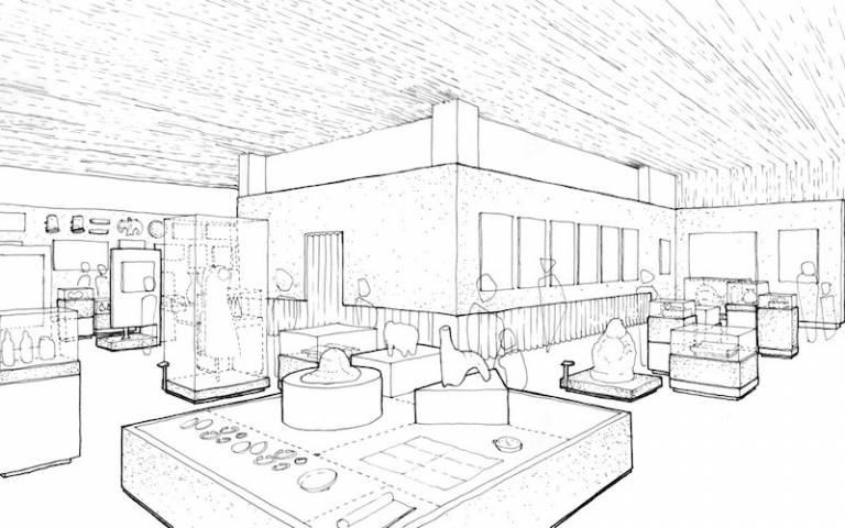 South Asia Gallery, Manchester Museum: Proposed internal perspective view of gallery with performance space beyond. Design by Studio C102 in collaboration with Mobile Studio Architects. Studio C102 X Mobile Studio Architects © April 2020