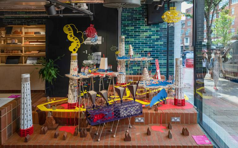Three Little Bricks Paper Installation: Designed by Ten Tectons for EH Smith with London Festival of Architecture