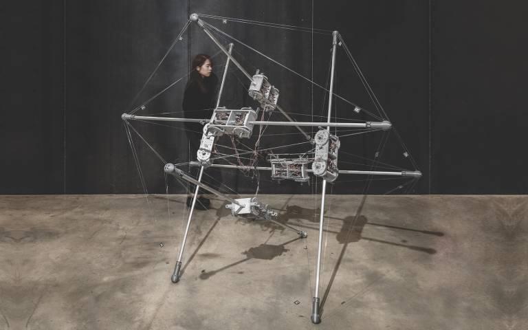 'Autonomous Robotic Tensegrity (ART) Prototype' by Linlin Cao, Ziming He, Sizuan Ren, Ning Wang, Research Cluster 3, 2018
