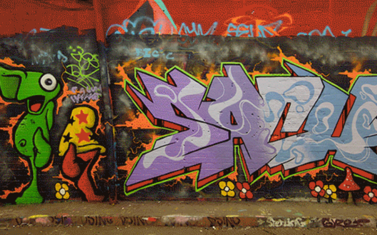 Wall No. 4, '100 Days of Leake Street' by Sabina Andron. A photograph of one of the walls on Leake Street, covered in graffiti.
