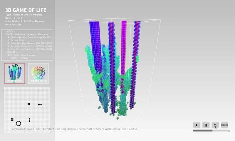 3D Game of Life - still from video - Mohamed Dawod