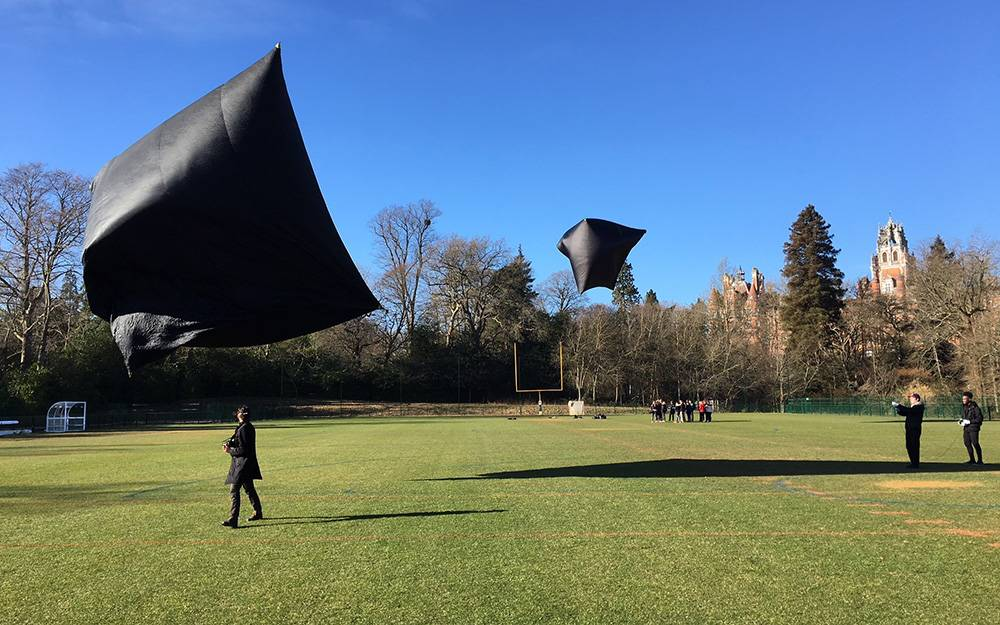 Black fabric objects flying through the air above a park